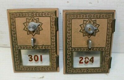 Vintage Brass Post Office Mailbox Door Cover Keyless Lock Co LOT OF 2
