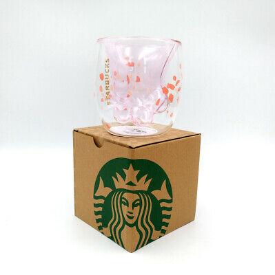2019 Starbucks Cat's Paw Sakura Pink Coffee Cup 6oz Double Wall Glass Mug Hot
