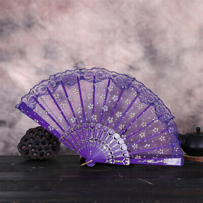 Floral Lace Silk Cloth Folding Hand Held Fan Dance Wedding Party Spanish Vintage