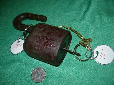 Climax Large Antique Padlock With Original Key