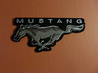"""FORD MUSTANG"" GREY & black Embroidered 2-3/8 x 4-3/4 Iron On Patch"