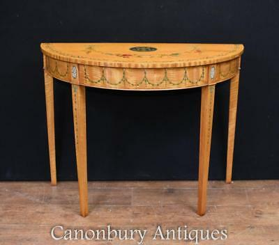 Pair Hepplewhite Console Tables - Painted Satinwood Demi Lune