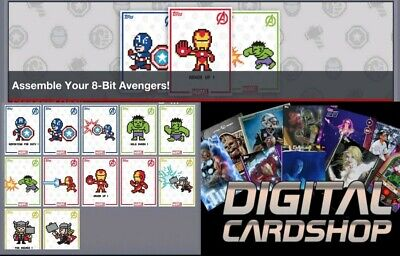 Topps Marvel Collect Card Trader 8-Bit Avenger Digital Set of 8 - Award Ready