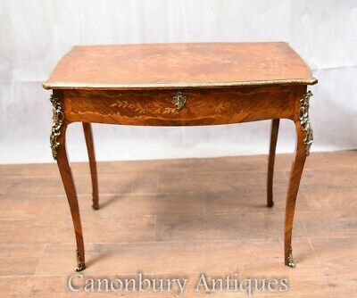 Antiqe French Writing Table Desk Marquetry Inlay 1880