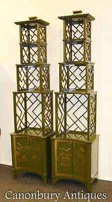Pair Chinese Lacquer Etagere Bookcases - Chinoiserie Pagoda Shelf