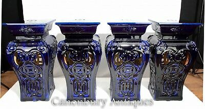 Set 4 Chinese Porcelain Stools - Garden Seats Blue Glaze