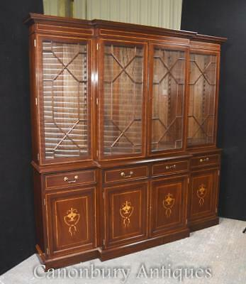 Mahogany Breakfront Bookcase - Regency Sheraton Inlay Bookcases Furniture