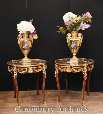 Pair French Side Tables - Empire Marble Tops
