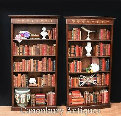 Pair Mahogany Open Front Bookcase - Regency Sheraton Bookcase