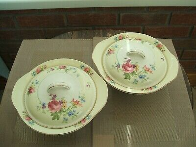 """Vintage Pair Of Tureens """" Woods Ivory Ware"""" England / Delicate Floral Pattern"""
