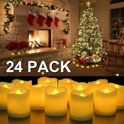 24 PCS sin llama LED Luz de té De pilas Velas votivas Tea Light color amarillo