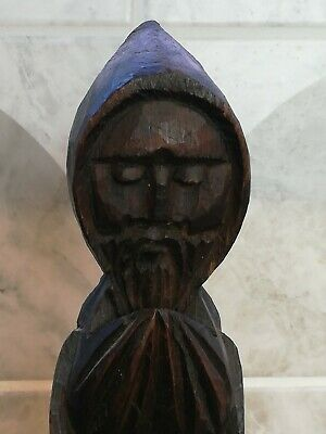 Antique Black Forest Carved Wooden Hooded Monk Figure
