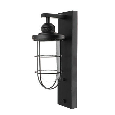 1PC Lamp Rack Wrought Iron Country Style Wall Lights for Street Corridor (Black)