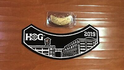 NEW 2019 HOG Harley Davidson Owners Group Pin and Patch Set Badge Wings HD Metal