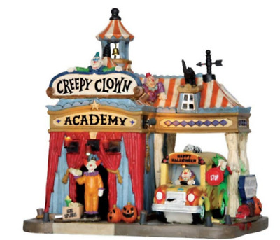 Spooky Town Lemax Creepy Clown Academy with Adaptor - #55905, Brand New in Box