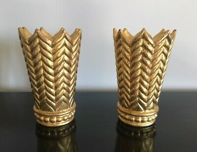 Pair of Gold Gilt Large Arrow Finials for Drapery Poles - Wood, Hand Carved