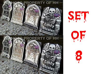 *Set Of 8 Lot Of 8 Halloween Tombstones Haunted House Prop Decoration Free Ship