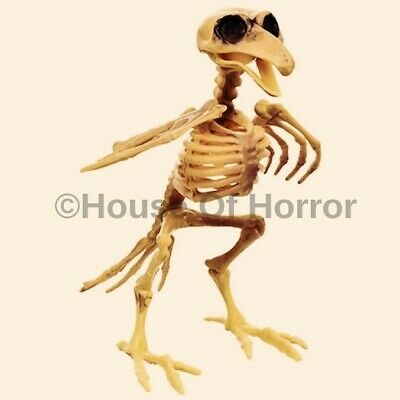 """7"""" ~ Halloween Poseable Crow Skeleton Spooky Scary Haunted House Prop Decoration"""