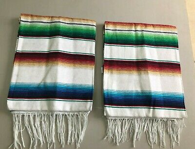 TWO PIECE SERAPE SET ,5' X 7',Mexican Blanket,HOT ROD,Covers, XXL , WHITE MIX
