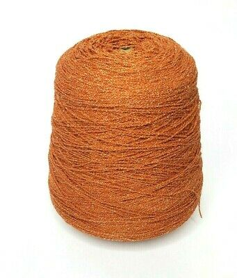 Rust Orange & White 1.9 lbs Cone Yarn Knitting Machine Vintage