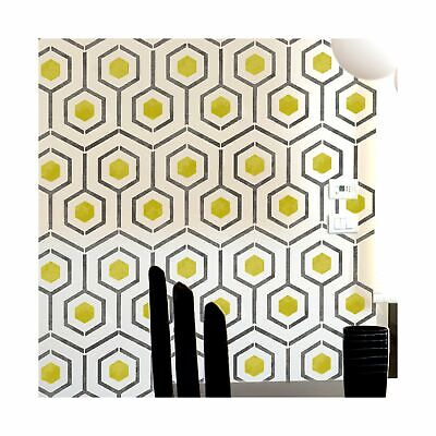 HICKS HEXAGON Modern Geometric Furniture Wall Floor Stencil for Painting