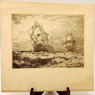 19th century Etching of Ships, signed