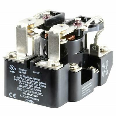 NEW NTE R04-11A30-120 120 Volt AC Coil, 30 Amp DPDT Heavy Duty Open Frame Relay