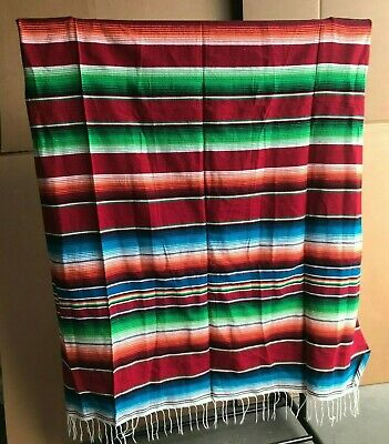 Serape XXL,5' X 7',Mexican Blanket,HOT ROD, Seat Covers,Motorcycle,  RED MIX