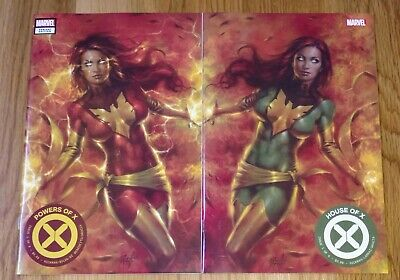 HOUSE OF X & POWERS OF X 1 Dark Phoenix Variant Covers SET Parrillo Red Green NM