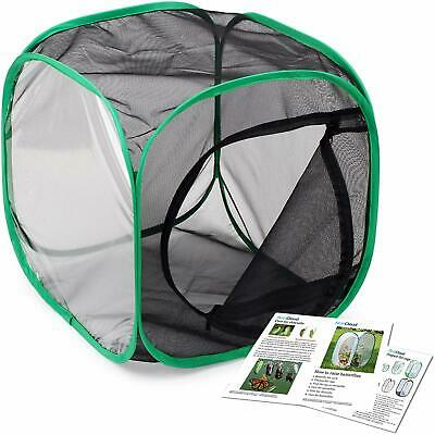 Black Insect Butterfly Habitat Cage Terrarium Pop Up Panels Airflow Large Zipper