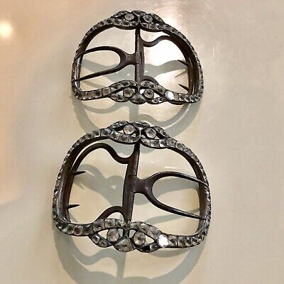 Rare Antique 18Th Century French Paste Pair Of Large Oval Arched Shoe Buckles