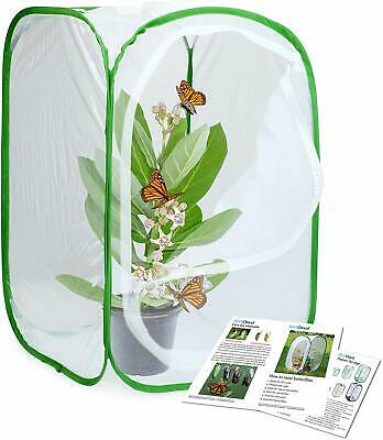 Tall White Insect Butterfly Habitat Cage Terrarium Pop Up Airflow Large Zipper