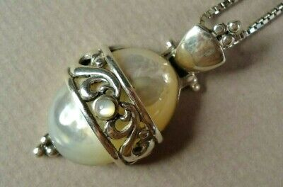 Inexpensive Sterling Silver & Mother-of-Pearl Necklace, Signed