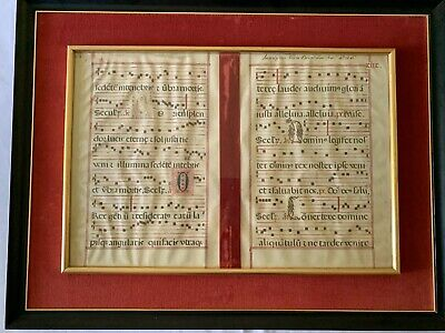 Two Illuminated Manuscripts/Medieval Latin/Xmas Vigil Gregorian Chant/ Framed