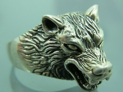 Turkish Handmade Jewelry 925 Sterling Silver Wolf Desing Men Ring Sz 11