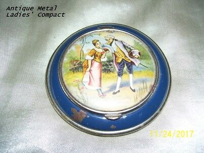 Nice Antique Metal Compact With Mirror - Courting Couple Portrait On Cover