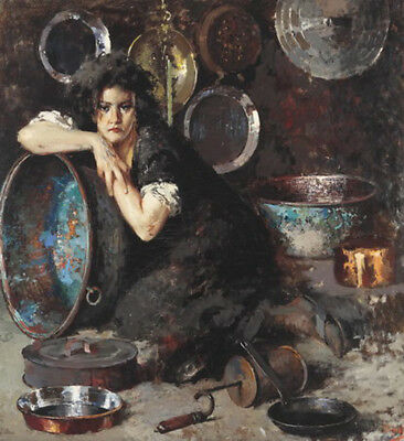 Dream-art hand painted Oil painting young woman repairwoman Pots and pans canvas