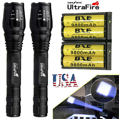 2Sets Ultrafire 50000LM T6 LED Torch Lamp Zoom 18650 Flashlight Battery Charger