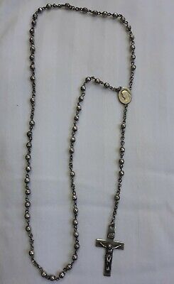 """Vintage Sterling Silver Rosary Lady Of Sorrows Round Beads 15.5"""""""