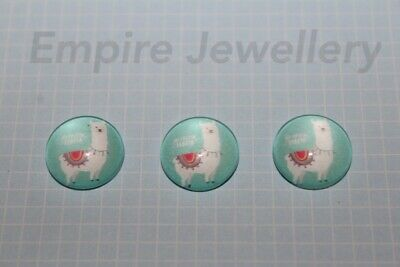 2 x No Prob Llama #1 12x12mm Glass Cabochons Cameo Dome Alpaca South America