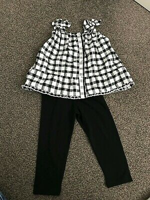Girls Outfit Tshirt T-shirt top black leggings River Island New 12-18 Mths