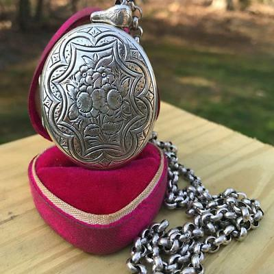 Large Antique Victorian sterling silver Engraved Locket Chain Pendant Necklace