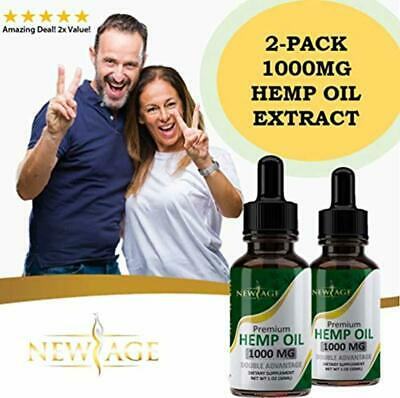 (2-Pack) Hemp Oil Extract for Pain & Stress Relief - 1000mg Organic Hemp Extract