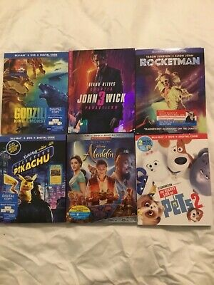 new release lot of 6  Bluray/dvd/Digital Combos, Brand New, sealed Free Ship