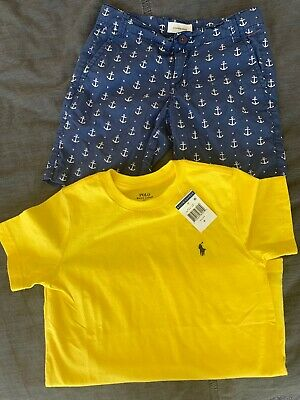 Boys Size 6-7 Polo Ralph Lauren Tee & country road Summer Shorts