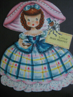 1947 vintage greeting card Hallmark Story Doll Card by Viv, Little Miss Muffet