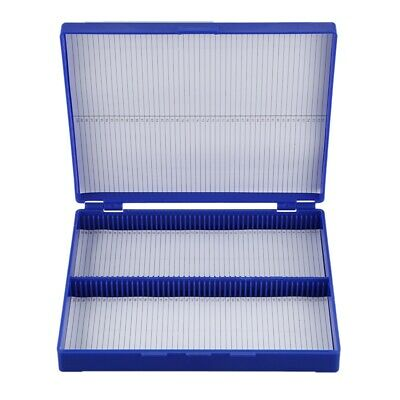 Royal Blue Plastic Rectangle Hold 100 Microslide Slide Microscope Box R2F6