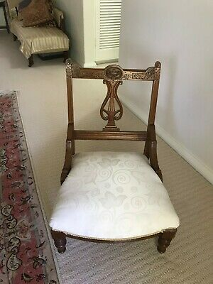 Beautiful Antique Low Ladies Carved walnut Chair