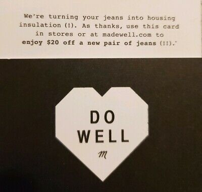 Madewell voucher/coupon - $20 off a new pair of jeans - Expires 01/31/2020