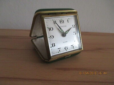 vintage Kienzle Travel Alarm Clock Leather Case Made in Germany many pictures